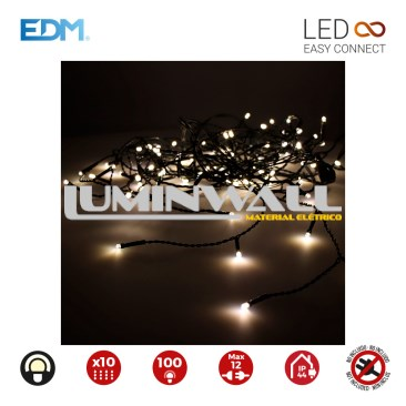 CORTINA EASY-CONNECT BRANCO QUENTE 10 TIRAS 100 LEDS IP44 30V TOTAL 1,8W 2X1MTS